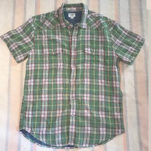 Lucky Brand Shirt Pearl Snap Short Sleeve Medium